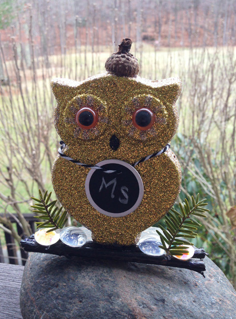 Glitter owl place cards DIY