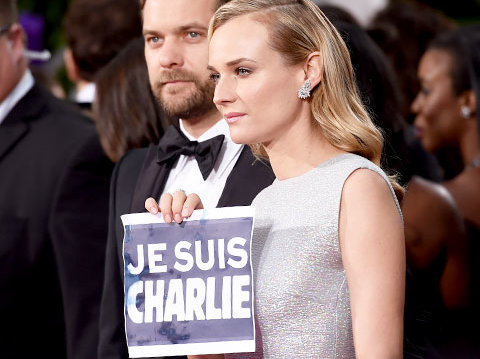Celebrities Support 'Je Suis Charlie' at Golden Globes