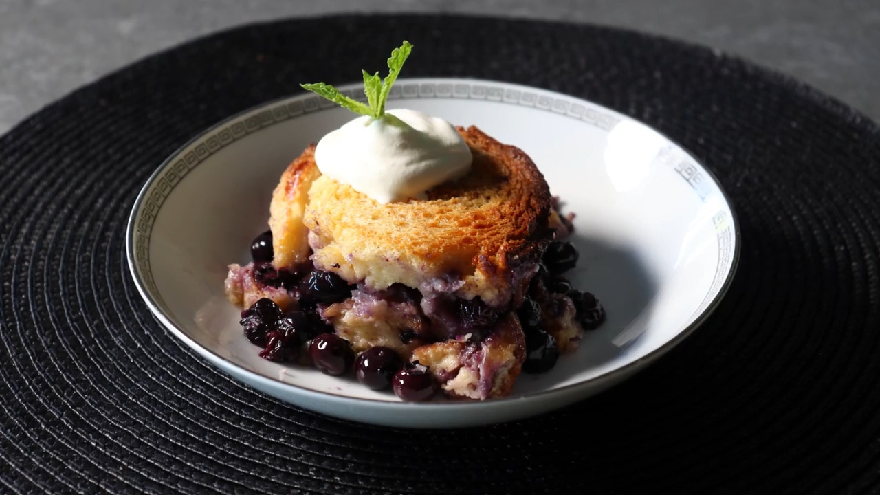 The Best Blueberry Bread Pudding