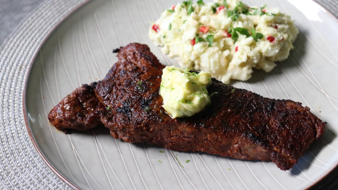 Grilled Chili Steak with Garlic-Lime Butter
