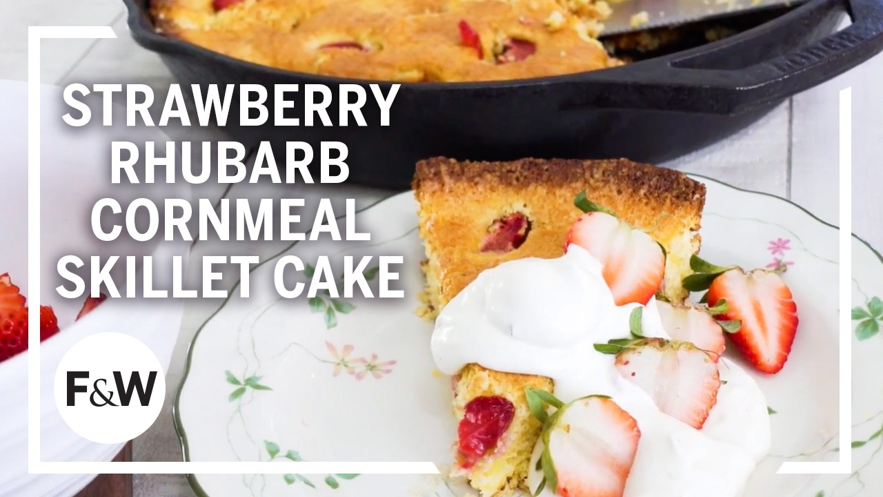 Strawberry-Rhubarb Cornmeal Skillet Cake