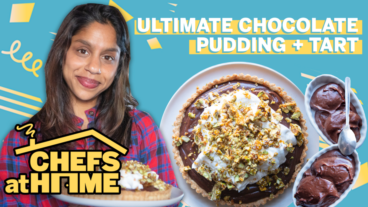 Watch: How to Make Chocolate Cardamom Pudding (and Turn It Into a Tart)
