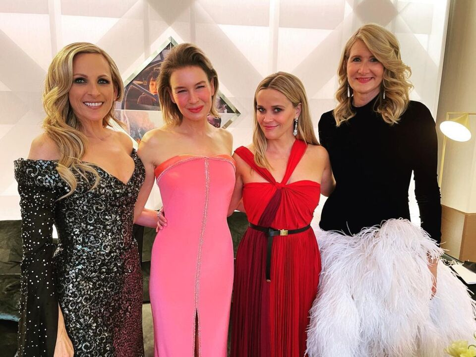 Renée Zellweger Wore Strapless Barbie Gown With a High Slit to the Oscars