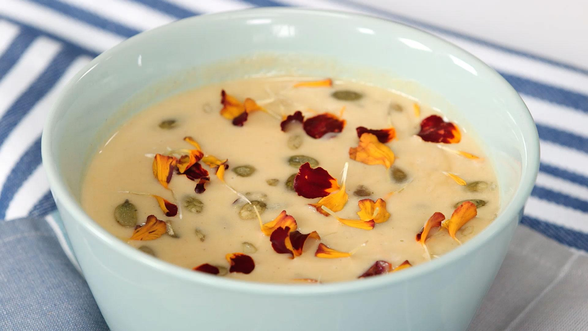 Butternut Squash Soup with White Balsamic and Toasted Pumpkin Seeds