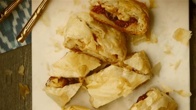 Apple-Cherry Strudel with Cider Whipped Cream