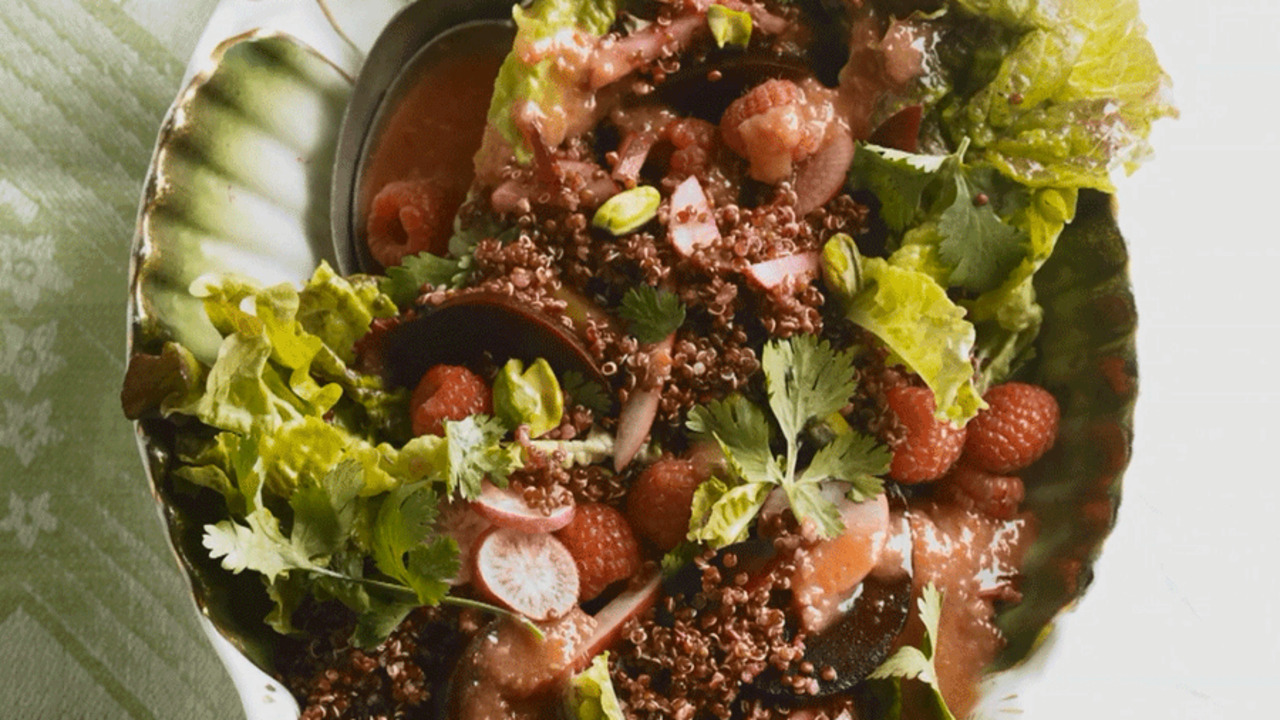 How to Make Red Quinoa Salad with Red Chile Vinaigrette