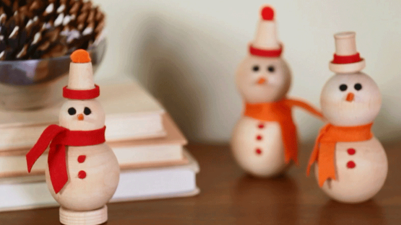 Snowman Family from Wooden Balls