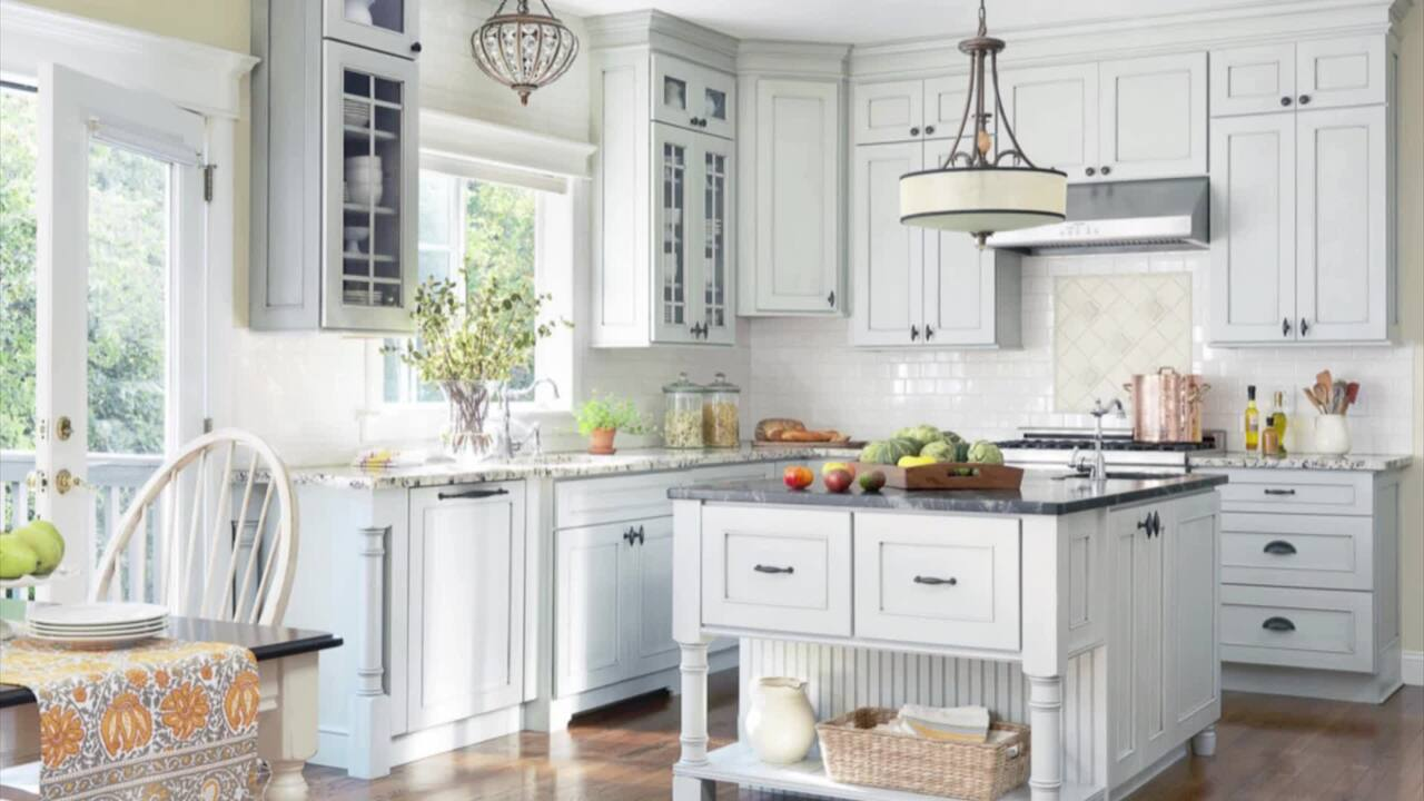 Cottage Kitchens with Blue