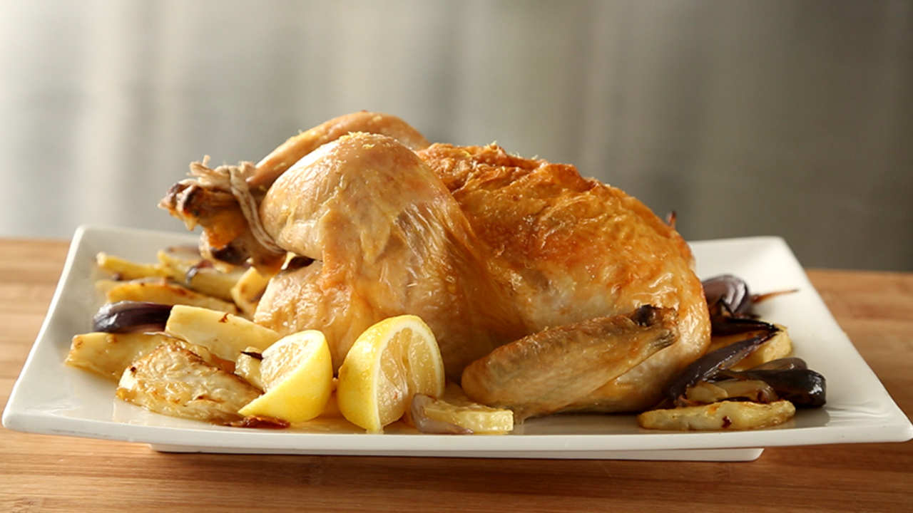 Roasted Chicken with Celery Root and Onion