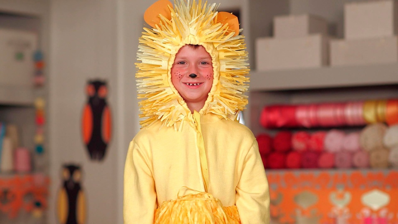 Paper-Made Lion Costume