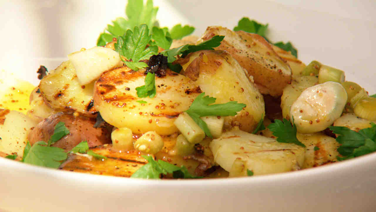 Grilled Potato and Pickled Green Garlic Salad