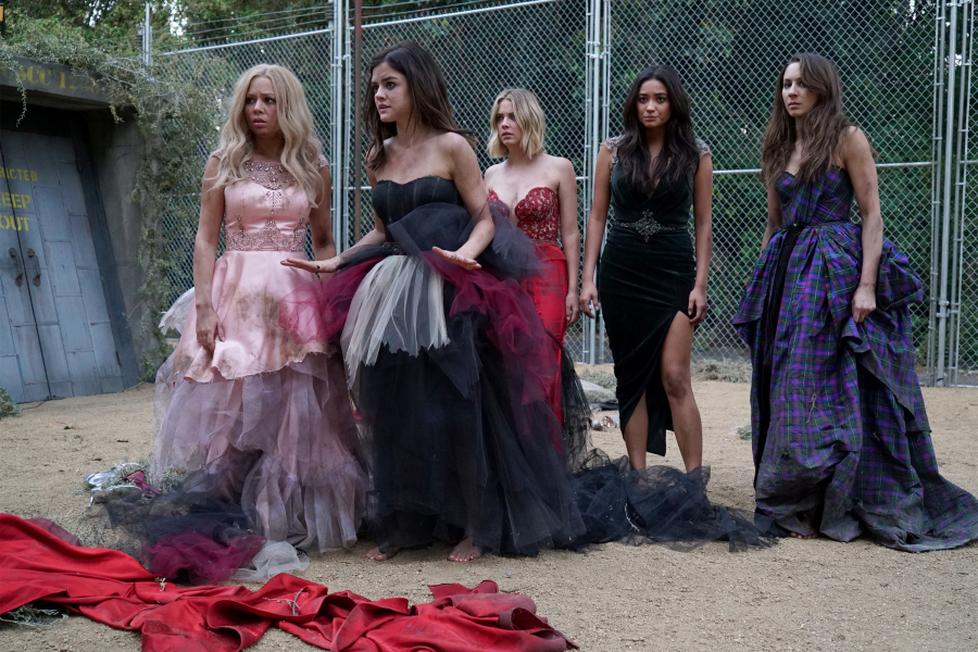 """PRETTY LITTLE LIARS -  Game On, Charles  - The future looks bleak as the Liars are still stuck in Charles' twisted web in """"Game On, Charles,"""" the season six premiere of ABC Family's hit original series """"Pretty Little Liars,"""" premiering Tuesday, June 2nd (8:00 – 9:00 PM ET/PT). Fans can start to put the """"A"""" puzzle pieces together with an all-day marathon starting at 12:00 PM (ET/PT) and running up to the one-hour season premiere at 8:00 PM (ET/PT). (ABC Family/Eric McCandless)                 JANEL PARRISH, LUCY HALE, ASHLEY BENSON, SHAY MITCHELL, TROIAN BELLISARIO"""