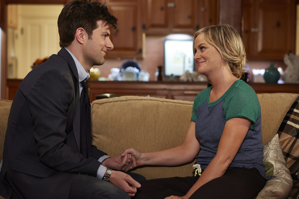 PARKS AND RECREATION --  One In 8,000  Episode 620 -- Pictured: (l-r) Adam Scott as Ben Wyatt, Amy Poehler as Leslie Knope -- (Photo by: Ben Cohen/NBC)