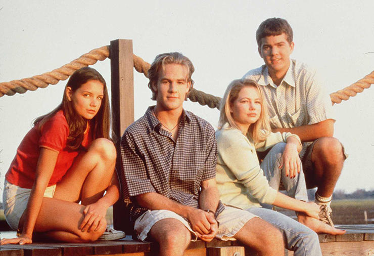 1997 The cast of  Dawson's Creek.  From left to right: Katie Holmes (Joey Potter), James Van Der Beek (Dawson Leery), Michelle Williams (Jennifer Lindley) and Joshua Jackson (Pacey).