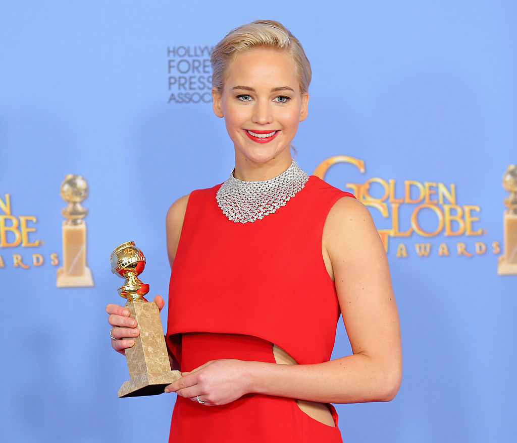 BEVERLY HILLS, CA - JANUARY 10:  Actress Jennifer Lawrence, winner of Best Performance by an Actress in a Motion Picture - Musical or Comedy for  Joy,  poses in the press room during the 73rd Annual Golden Globe Awards held at the Beverly Hilton Hotel on January 10, 2016 in Beverly Hills, California.  (Photo by Mark Davis/Getty Images)