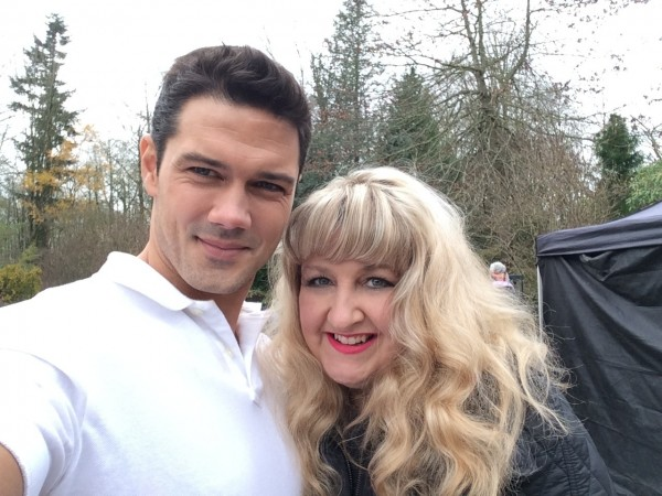 With Mr. Darcy (Ryan Paevey) on the set of Unleashing Mr. Darcy