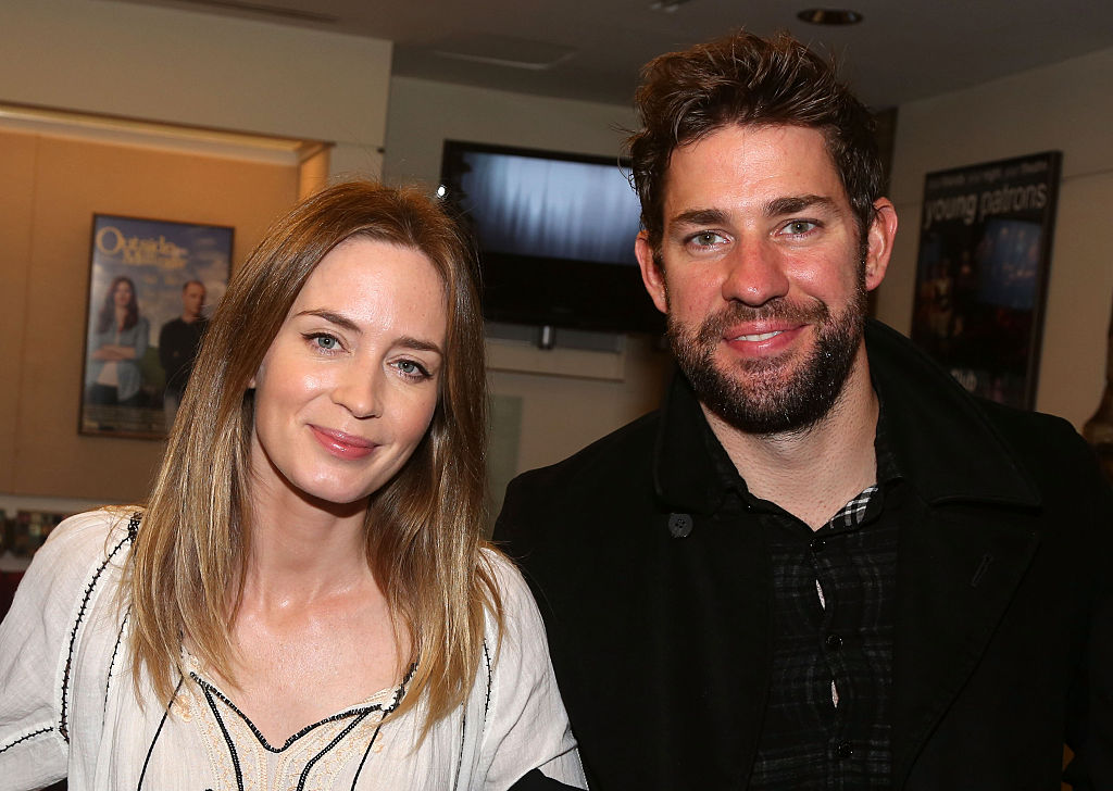 NEW YORK, NY - OCTOBER 08:  Emily Blunt and husband John Krasinski pose at The Opening Night of the MTC production of Sam Shepard's  Fool For Love  on Broadway at The Samuel J. Friedman Theatre on October 8, 2015 in New York City.  (Photo by Bruce Glikas/FilmMagic)