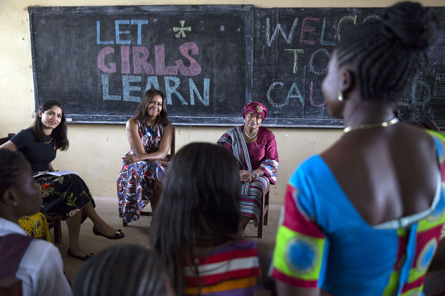 First Lady Michelle Obama participates in a roundtable discussion with Freida Pinto and students, in support of the Let Girls Learn initiative, at R.S. Caulfield Senior High School in Unification Town, Liberia, June 27, 2016. (Official White House Photo by Amanda Lucidon)