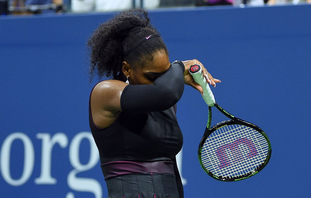 Serena Williams crashed out of the US Open on September 8, her semi-final defeat to Karolina Pliskova costing her a shot at a 23rd Grand Slam title and a record 187th straight week at number one. / AFP / Timothy A. CLARY        (Photo credit should read TIMOTHY A. CLARY/AFP/Getty Images)