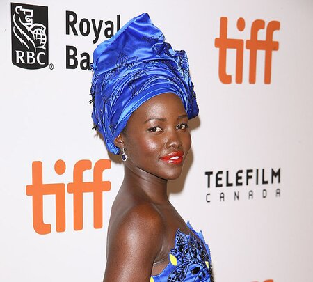 3f8ee438dcd4 Lupita Nyong o s patterned jumpsuit is the best kind of optical illusion