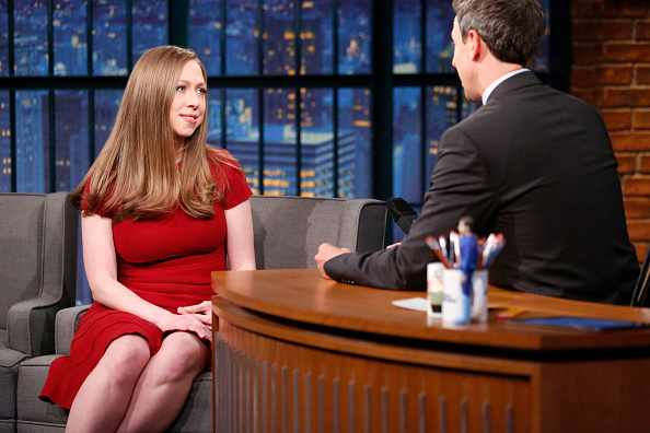 LATE NIGHT WITH SETH MEYERS -- Episode 431 -- Pictured: (l-r) Chelsea Clinton during an interview with host Seth Meyers on October 5, 2016 -- (Photo by: Lloyd Bishop/NBC/NBCU Photo Bank via Getty Images)