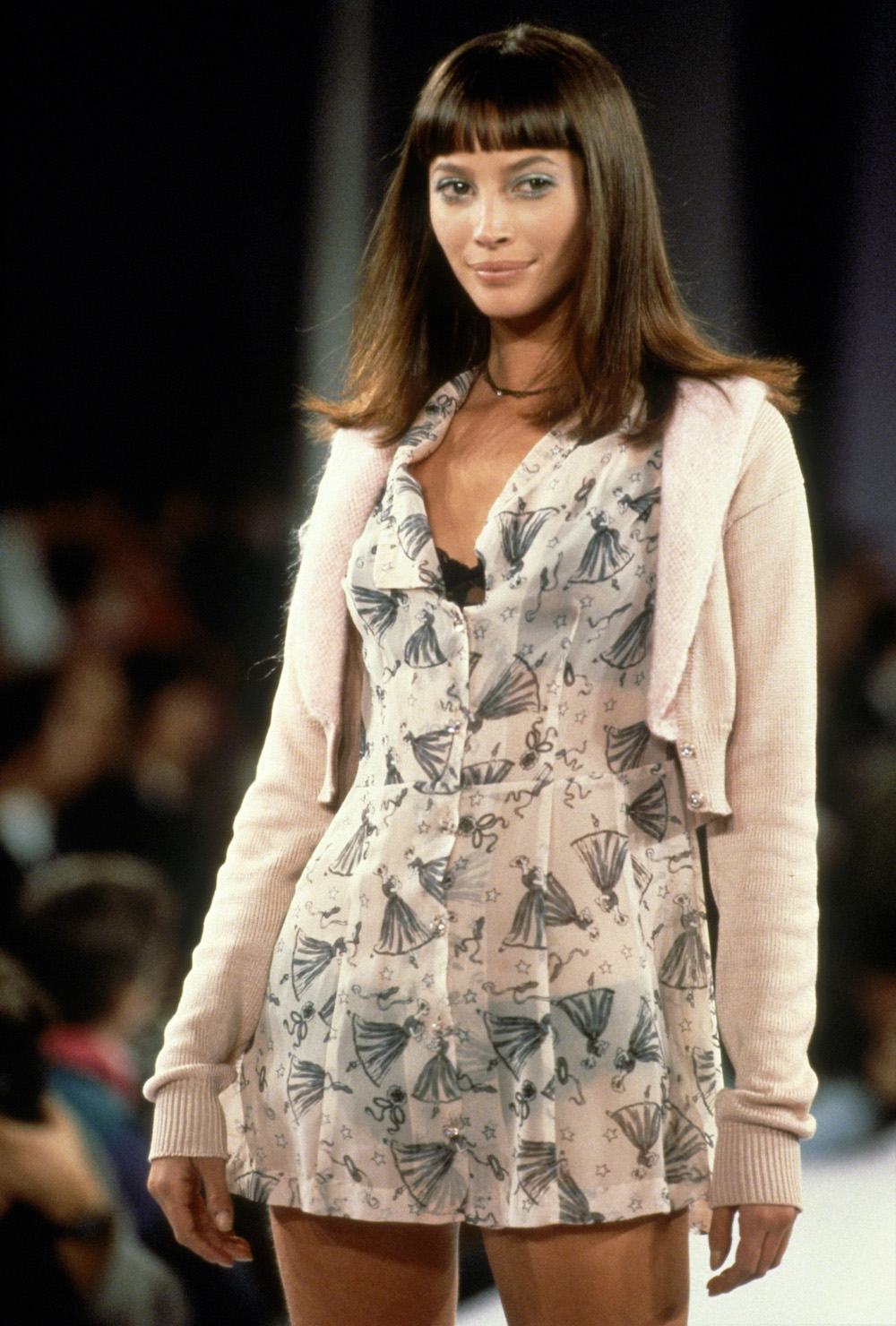 NEW YORK, NY - CIRCA 1993: Christy Turlington at the Anna Sui Spring 1994 show circa 1993 in New York City. (Photo by Images Press/IMAGES/Getty Images)