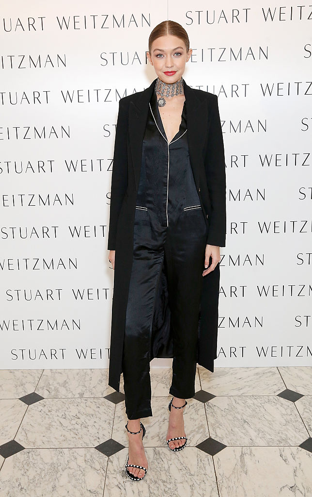 LONDON, ENGLAND - NOVEMBER 14:  Gigi Hadid attends a private dinner hosted by Stuart Weitzman and Gigi Hadid, to celebrate the opening of the Stuart Weitzman London Flagship Store, at the Royal Academy of Arts on November 14, 2016 in London, England.  (Photo by Darren Gerrish/Darren Gerrish/WireImage)