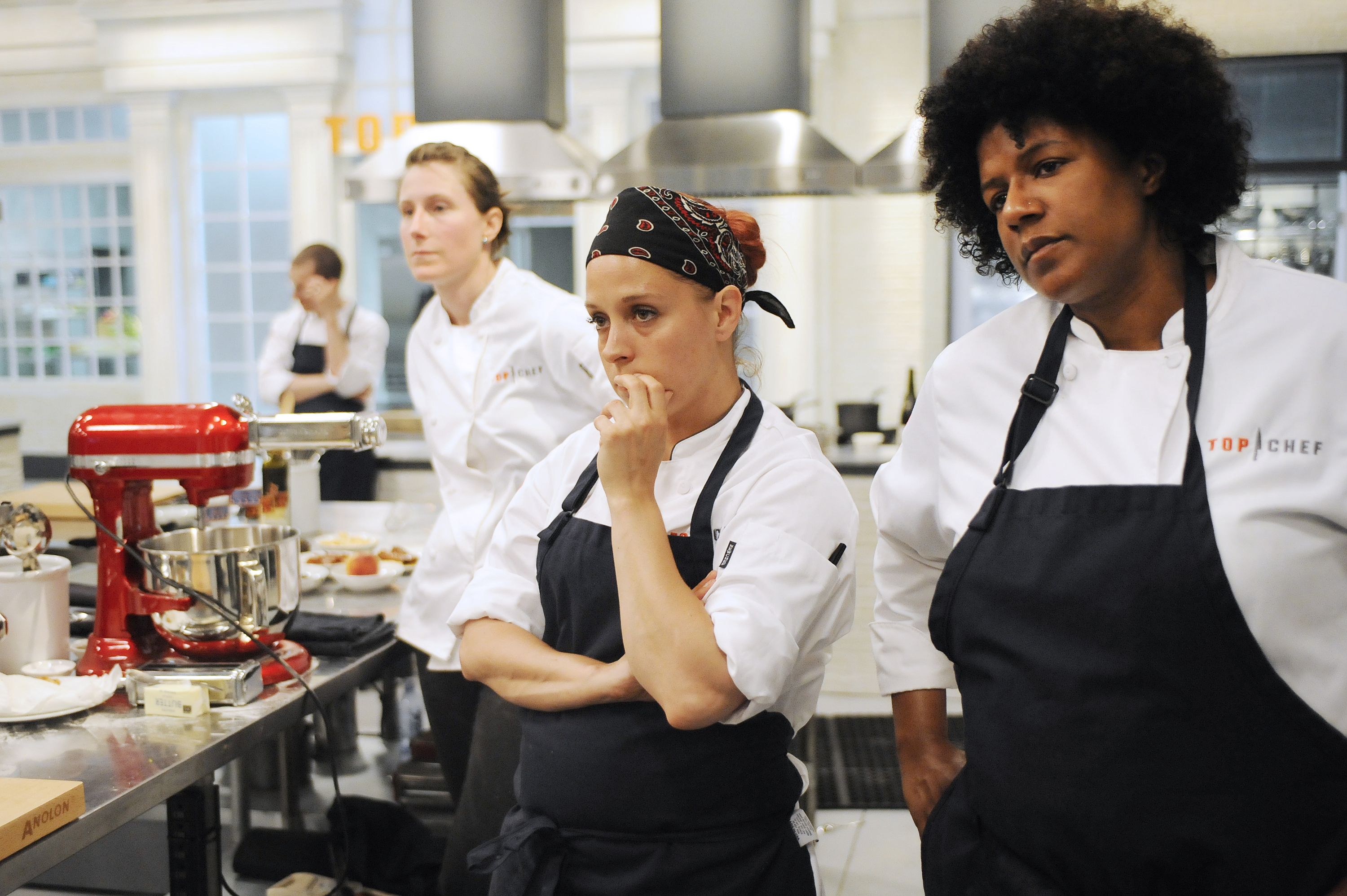 TOP CHEF --  Boston's Bravest and Finest  Episode 1202 -- Pictured: (l-r) James Rigato, Katie Weinner, Stacy Cogswell, Joy Crump -- (Photo by: David Moir/Bravo/NBCU Photo Bank via Getty Images)