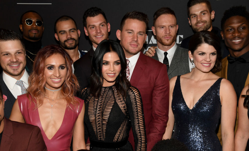 LAS VEGAS, NV - APRIL 21:  (L-R, front) Cast member Mark Shunock, associate director and choreographer Teresa Espinosa, actress Jenna Dewan Tatum, actor Channing Tatum and cast member Lyndsay Hailey attend the grand opening of  Magic Mike Live Las Vegas  with other cast members at the Hard Rock Hotel & Casino on April 21, 2017 in Las Vegas, Nevada.  (Photo by Ethan Miller/Getty Images)