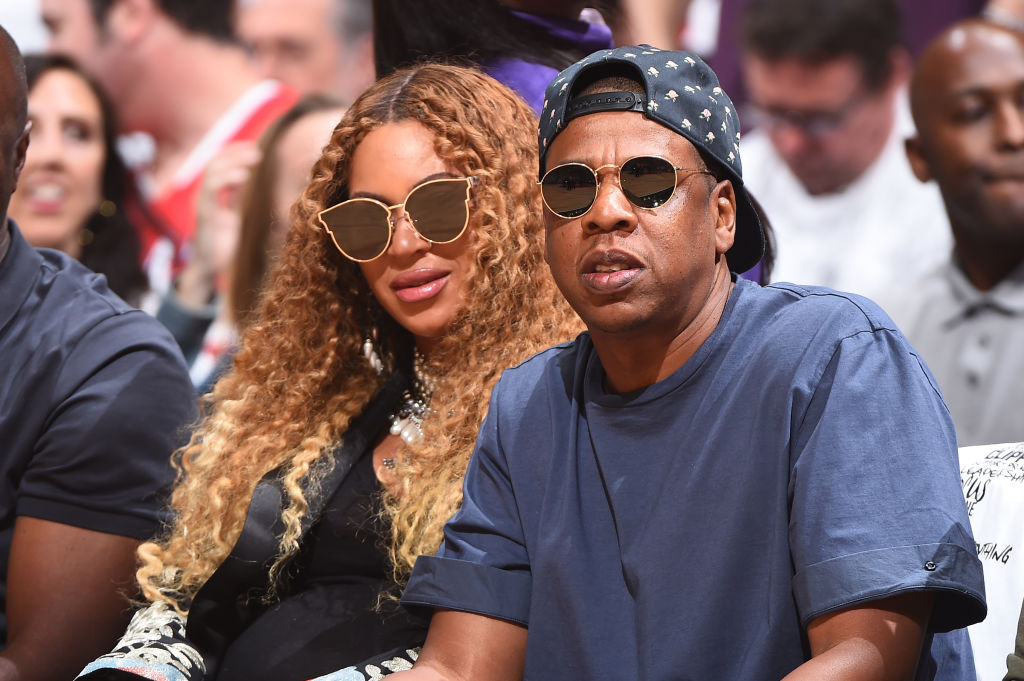 LOS ANGELES, CA - APRIL 30:  Beyonce and Jay Z attend  Game Seven of the Western Conference Quarterfinals of the 2017 NBA Playoffs on April 30, 2017 at STAPLES Center in Los Angeles, California. NOTE TO USER: User expressly acknowledges and agrees that, by downloading and/or using this photograph, user is consenting to the terms and conditions of the Getty Images License Agreement. Mandatory Copyright Notice: Copyright 2017 NBAE (Photo by Andrew D. Bernstein/NBAE via Getty Images)