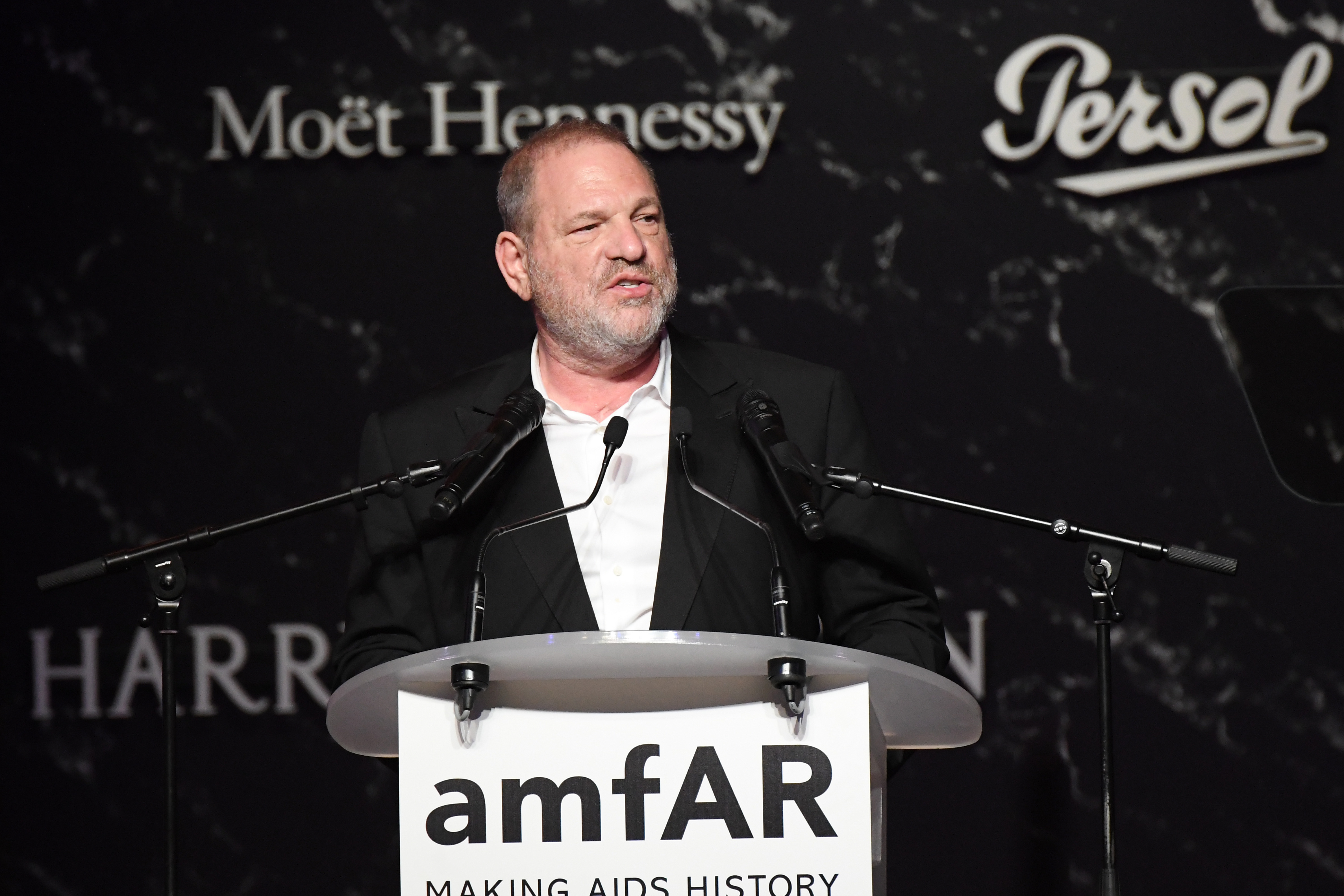 CAP D'ANTIBES, FRANCE - MAY 25:  Harvey Weinstein speaks on stage during the amfAR Gala Cannes 2017 at Hotel du Cap-Eden-Roc on May 25, 2017 in Cap d'Antibes, France.  (Photo by Dominique Charriau/Getty Images)