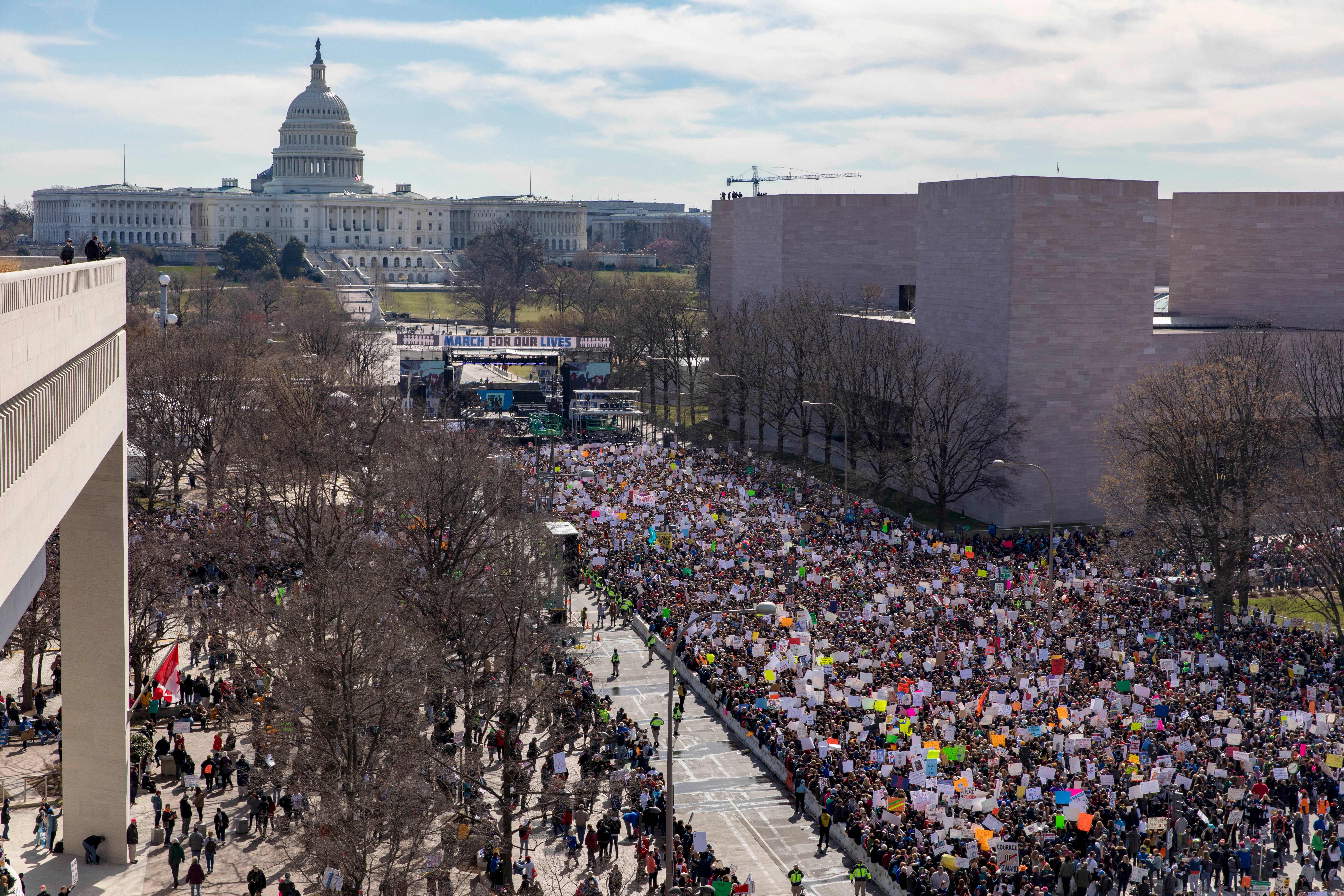 The crowd at the March for Our Lives Rally as seen from the roof of the Newseum in Washington, DC on March 24, 2018.                      Galvanized by a massacre at a Florida high school, hundreds of thousands of Americans are expected to take to the streets in cities across the United States on Saturday in the biggest protest for gun control in a generation. / AFP PHOTO / Alex Edelman        (Photo credit should read ALEX EDELMAN/AFP/Getty Images)