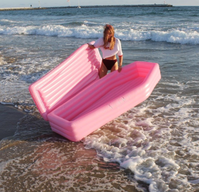 Christmas Themed Pool Floats.Forget Unicorns You Need This Millennial Pink Coffin Pool