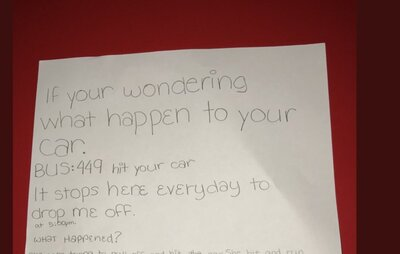 Sixth Grader Leaves Note After Seeing A Bus Hit A Car Hellogiggles