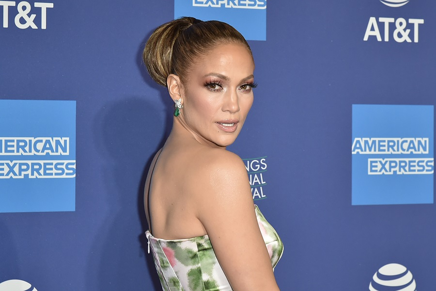 Jennifer Lopez showed off a new curly bob in photos of her back in the recording studio