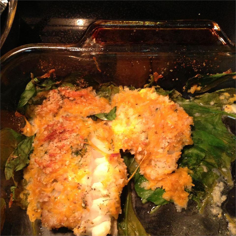 Crunchy Cheesy Fish and Spinach Casserole lieberm