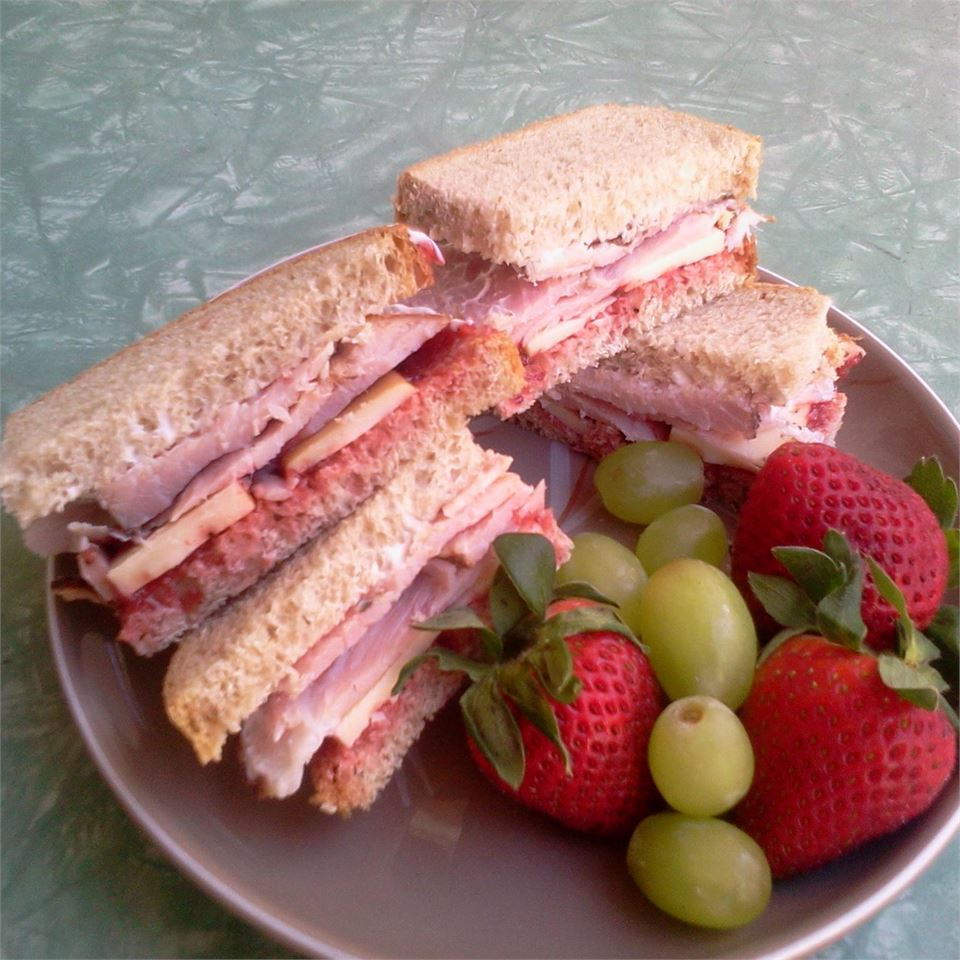 Mini Ham, Swiss, Rye Sandwiches with Cranberry Onion Relish
