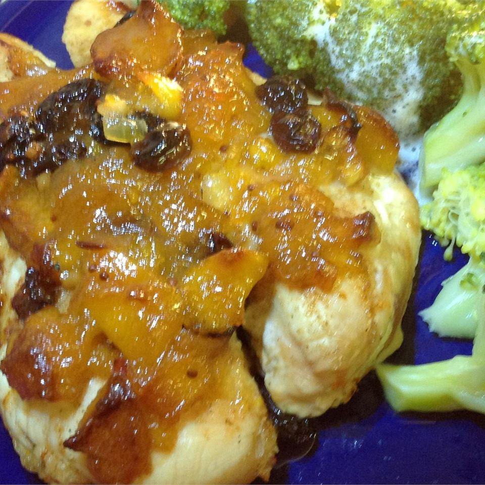 Broiled Chicken Breasts with Chutney-Lime Glaze and Broccoli Slaw USA WEEKEND columnist Pam Anderson