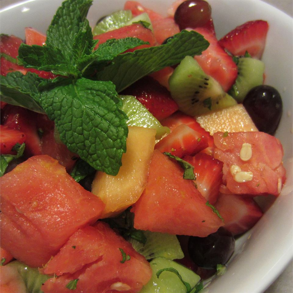 Summer Fruit Salad with a Lemon, Honey, and Mint Dressing