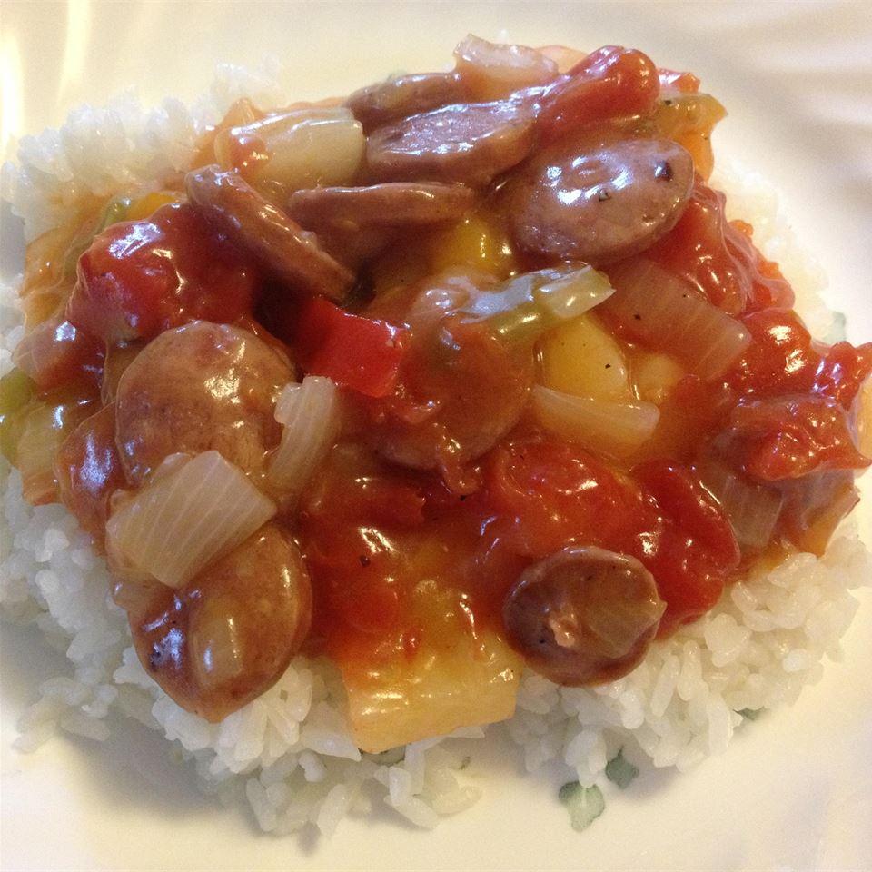 Hawaiian-Style Sausage and Rice