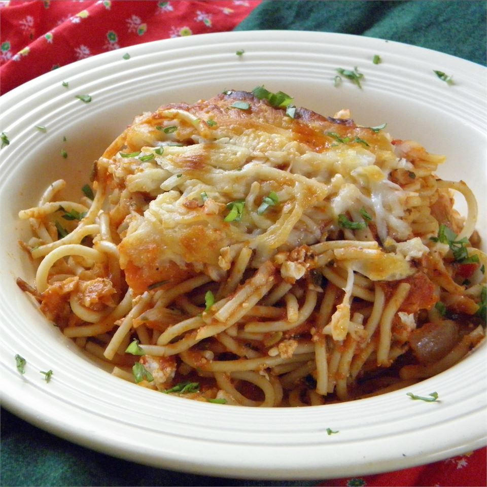 """""""This is a dish intended for your leftover spaghetti. In my house there never seems to be enough left over to make this,"""" says Joey Joan. """"So seeing as we love this dish a lot, I make it with fresh spaghetti. Night #1 we are all dancing in our seat with pleasure as we eat dinner and lunch on day #2 is a treat beyond words."""""""