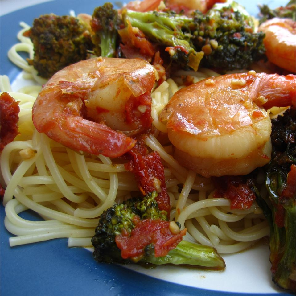 Shrimp, Broccoli, and Sun-dried Tomatoes Scampi with Angel Hair J.W. Sloan