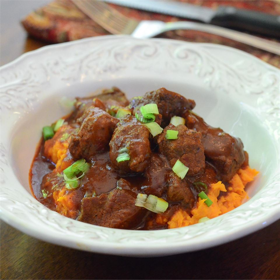 Red Chile Braised Beef Stew over Mashed Sweet Potatoes
