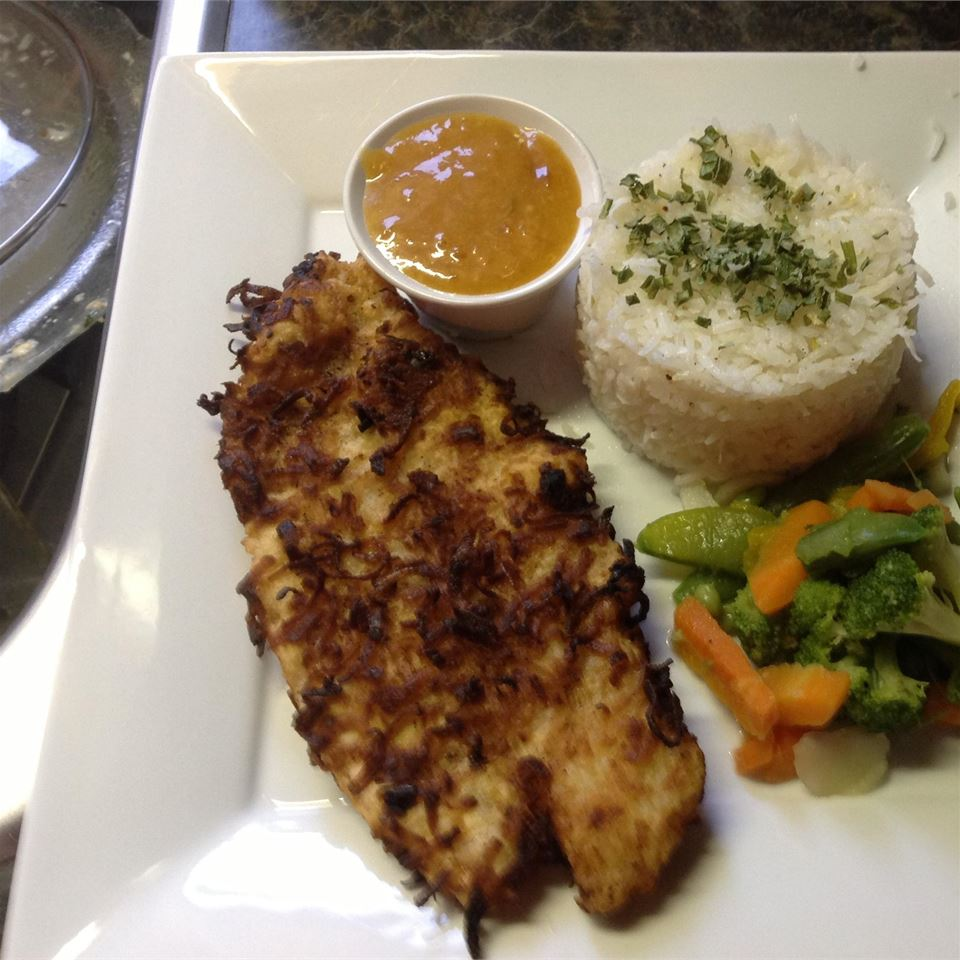Coconut Tilapia with Apricot Dipping Sauce cheron1