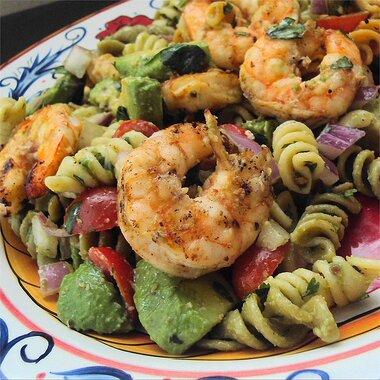 lime shrimp avocado pasta salad recipe