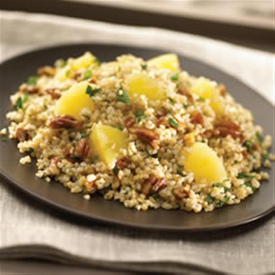 bulgur wheat with pineapple pecans and basil