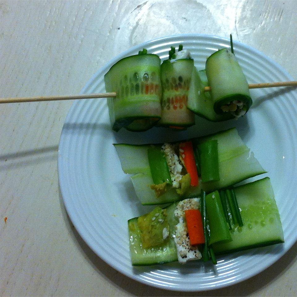 Mini Cucumber Sushi Rolls cjbjones