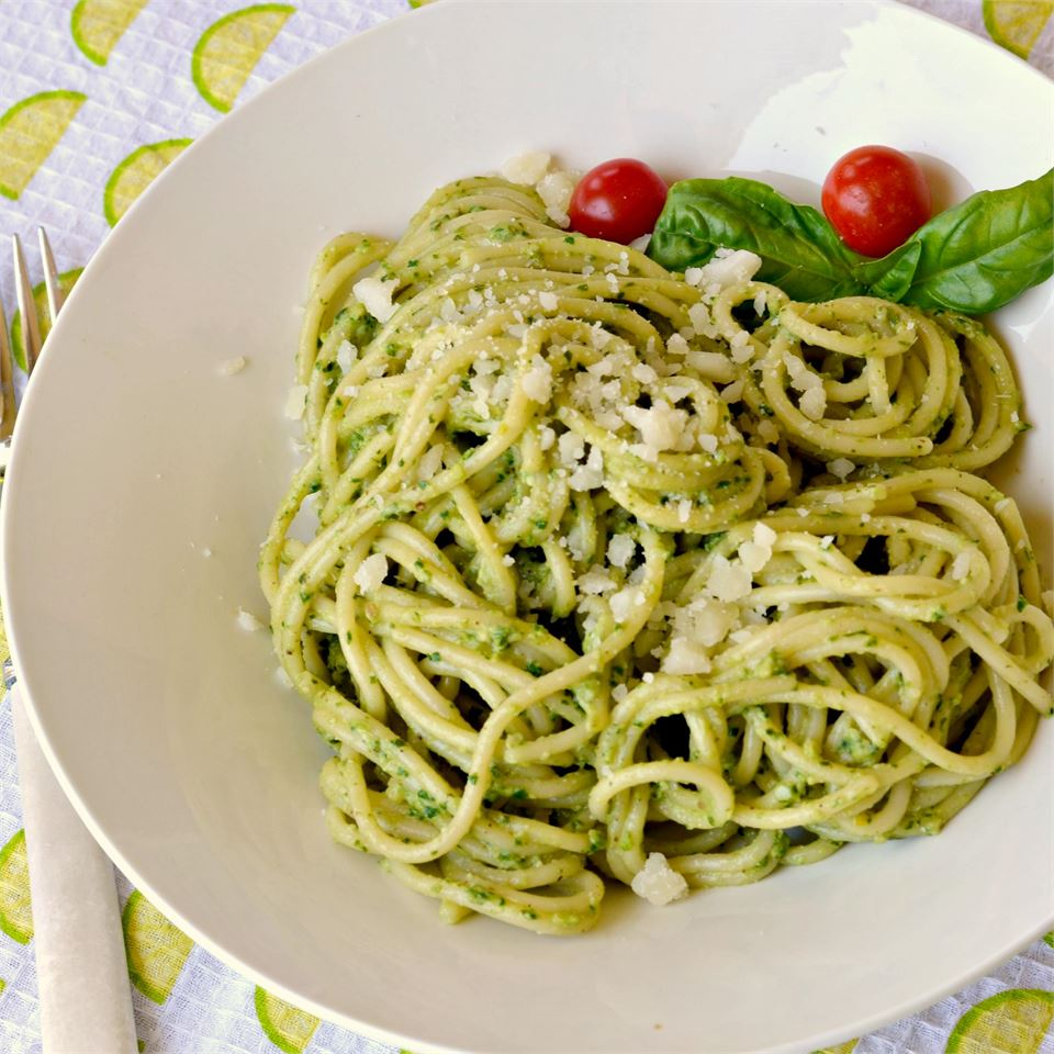 """Light, yet full of flavor, this pesto is perfect tossed with hot spaghetti for a quick dinner,"" says Baking Nana. ""It is also excellent as a pizza sauce or smeared on hot French bread."""