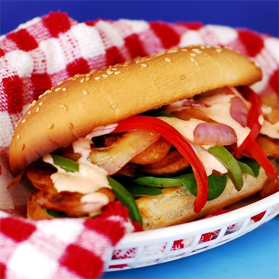 Buffalo Chicken Sausage and Pepper Sandwich bd.weld