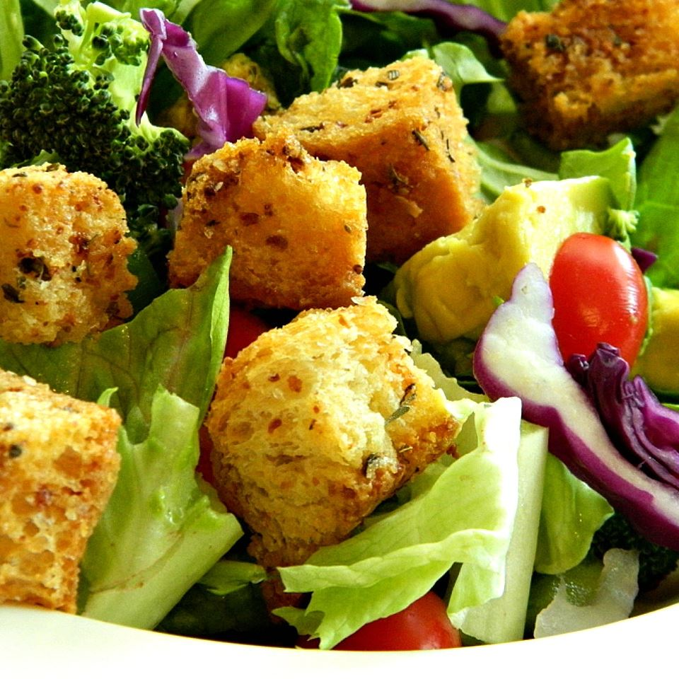 Garlic-Parmesan Croutons Heather Moyer